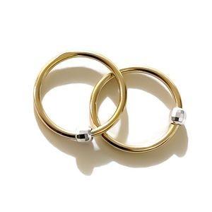 Mixed metals sleeper hoop earrings
